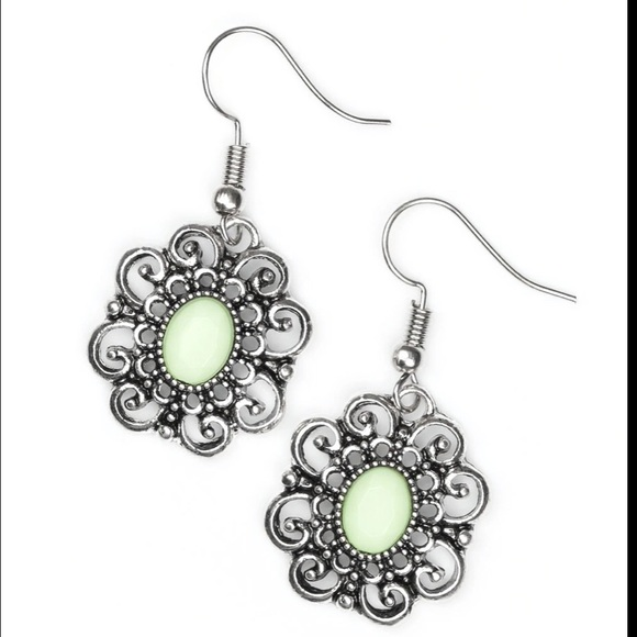 J52 Green and silver earrings
